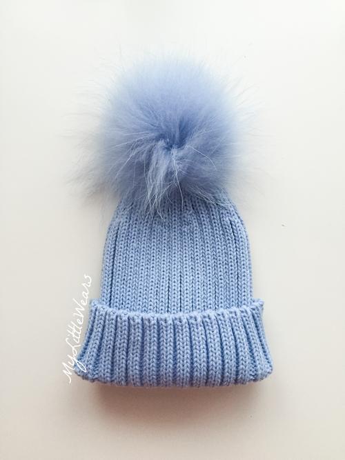 Luxury kids pompom hat - Baby Blue — mylittlewears 050e28874b3