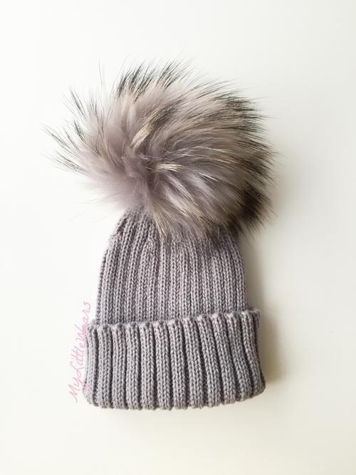 Luxury Kids pompom hat - Light Grey — mylittlewears b579adfae0a