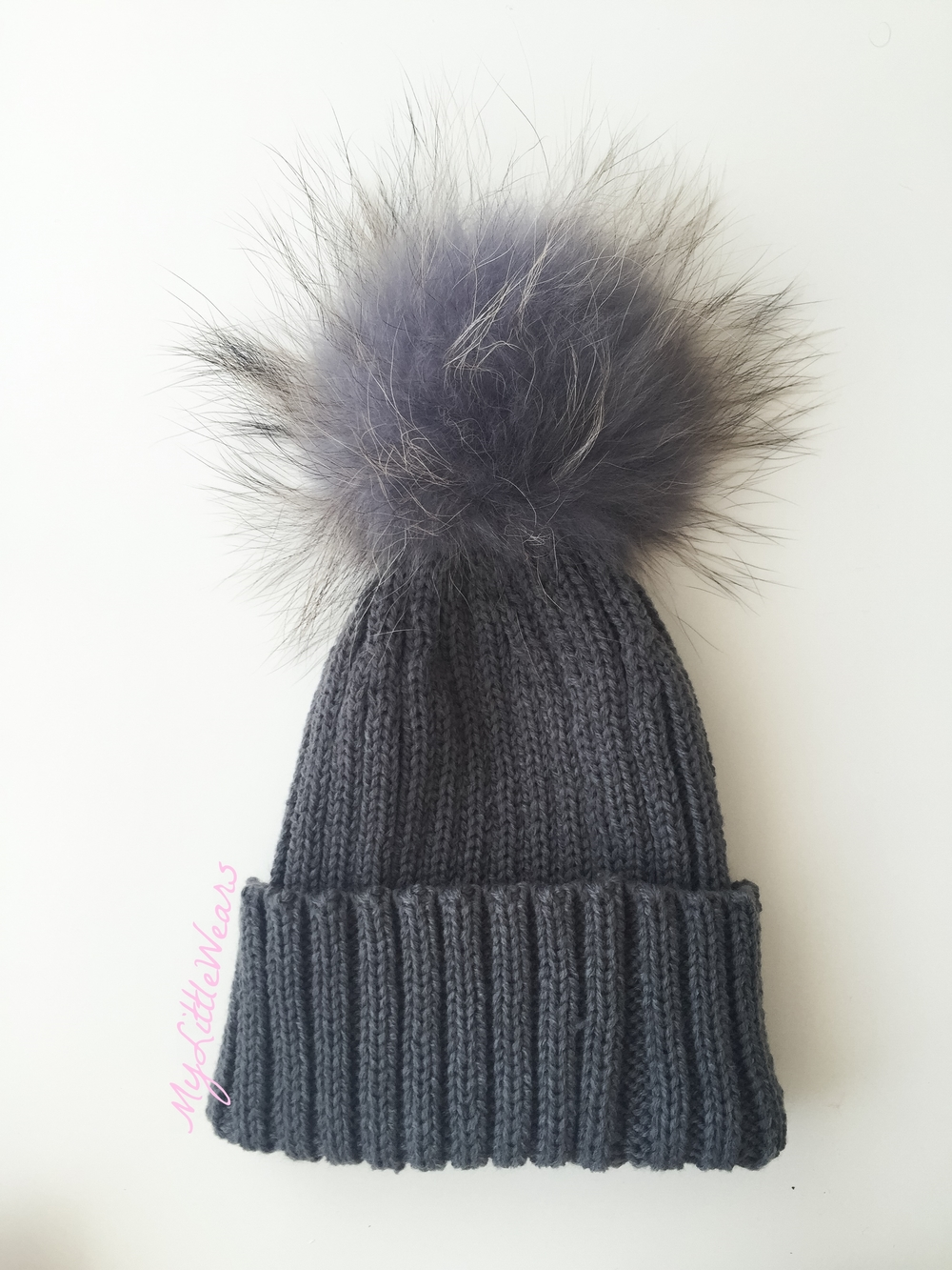 Luxury kids pompom hats - Dark Grey — mylittlewears 0db661906eb