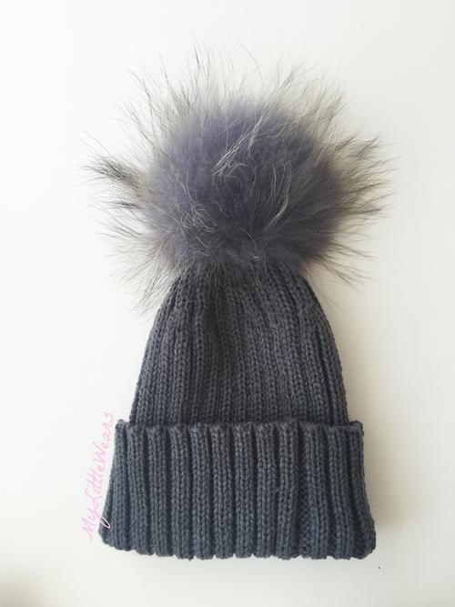 Luxury kids pompom hats - Dark Grey — mylittlewears 9d59f015a97