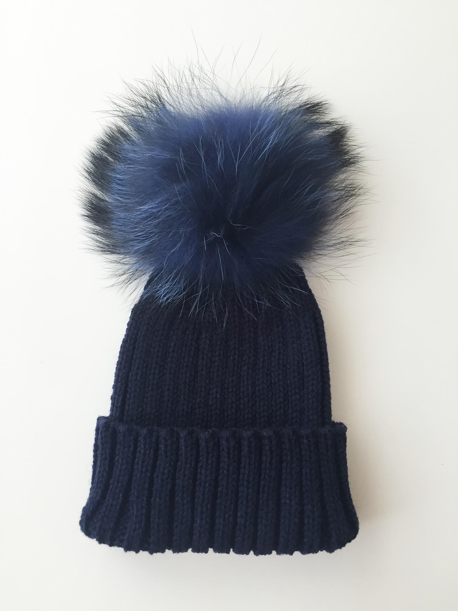 Luxury Kids pompom hat - Navy — mylittlewears 61fd7d366b0