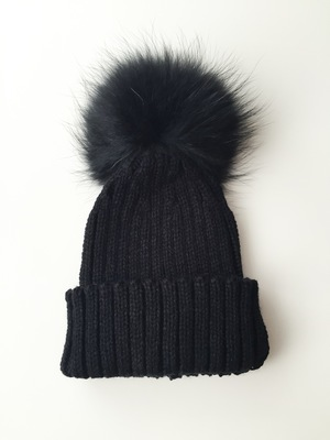 Luxury Kids pompom hat - Midnight Black b9c5700ab5b