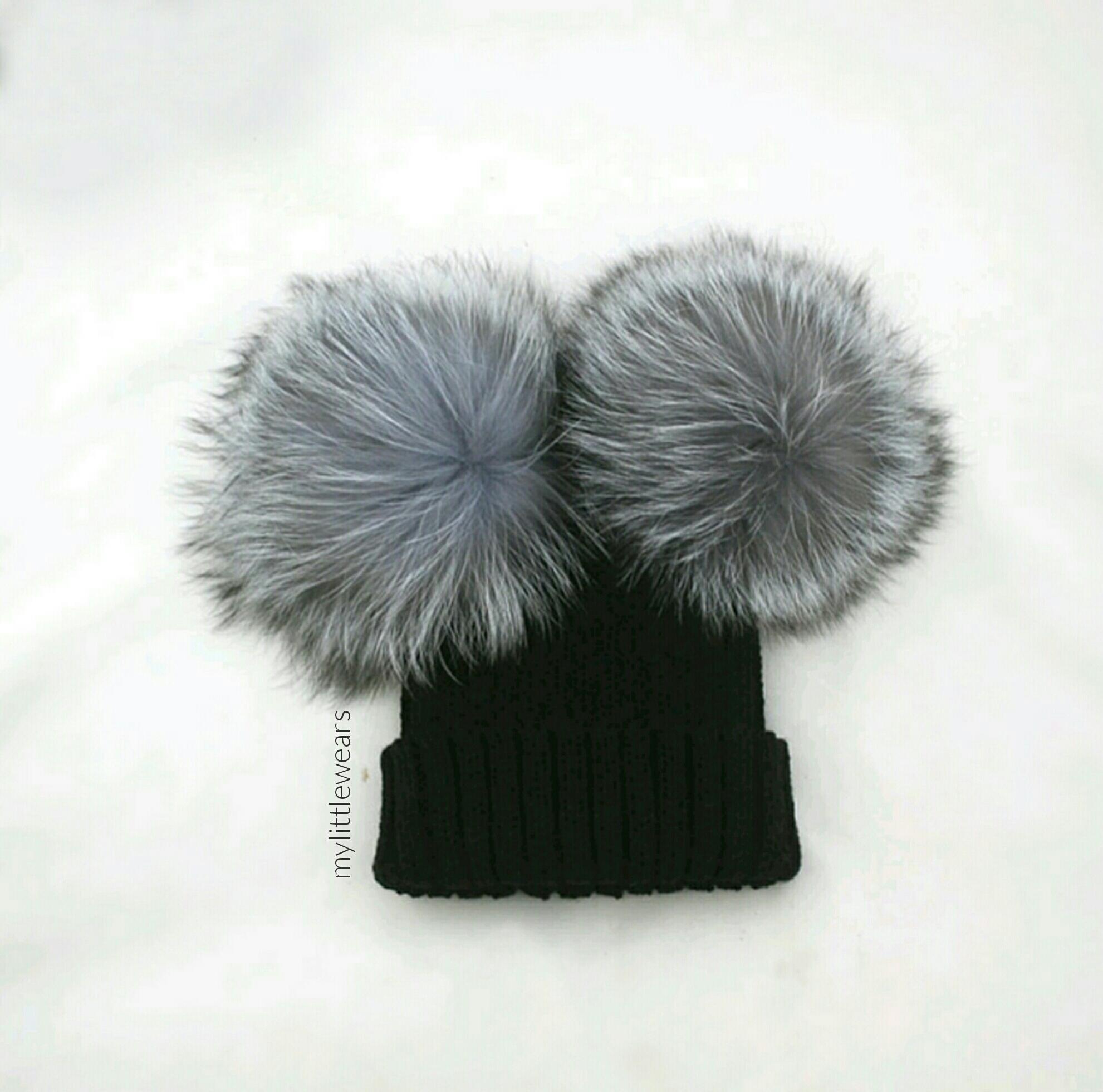 07452fc9e Minnie PomPom Hat - Black & Silver Grey