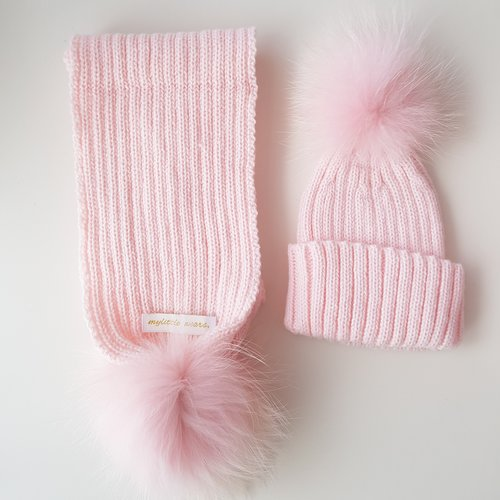 Baby Pink PomPom Hat   Scarf Set. IMG 20161116 180053.jpg 8fc60451426