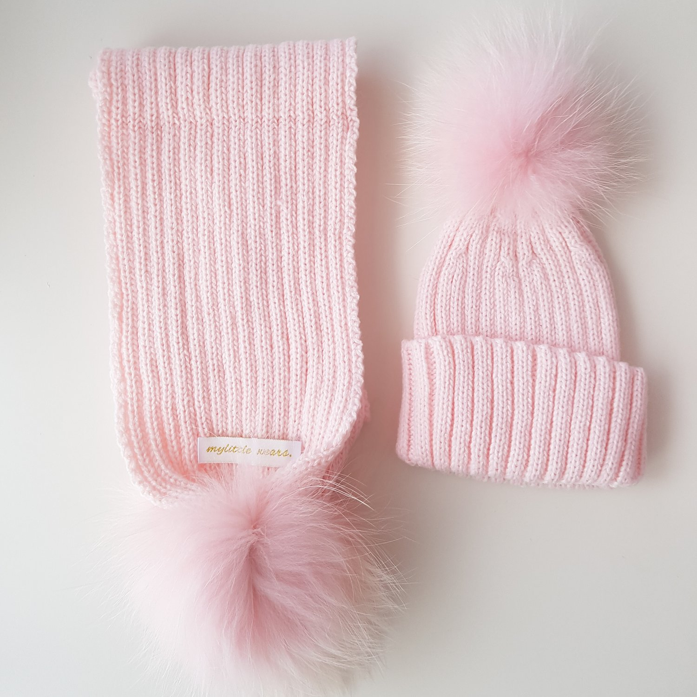 f04a7193f83 Baby Pink PomPom Hat   Scarf Set — mylittlewears