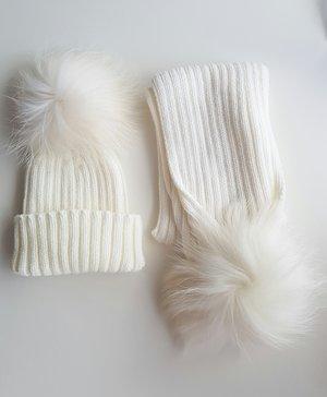 14501e682c8 Luxury Hat   Scarf PomPom Set - Snow White