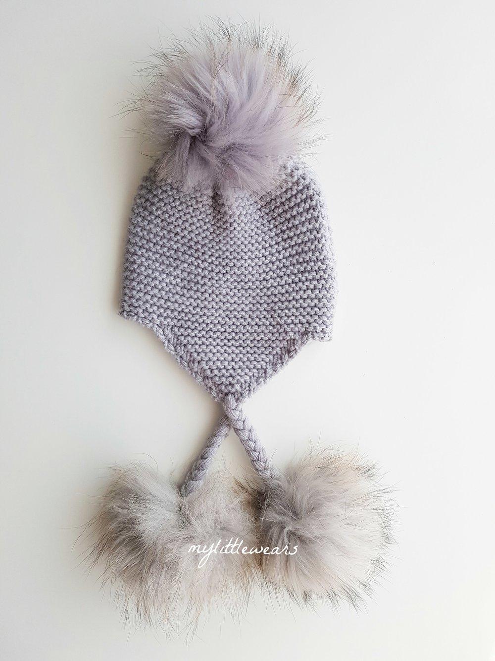 71f9d9e9af4 Soft Grey Triple Tassel Hat — mylittlewears