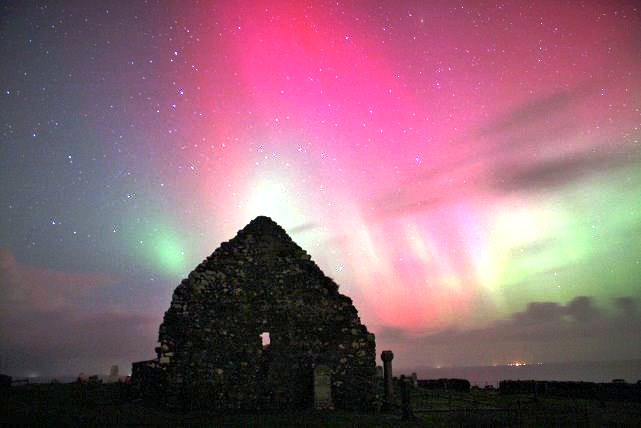 Northern lights over Trumpan Church, Waternish