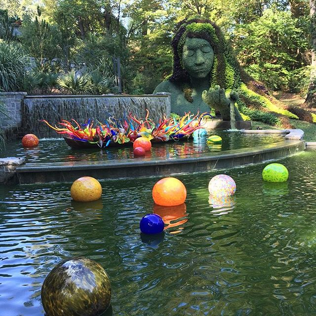 I'm in the throes of planning our next trip which has me reminiscing about the #chihulyinthegarden exhibition that we saw in Atlanta while on our honeymoon road trip. This is the Earth Goddess mosaic plant sculpture and Dale Chihuly Fiori Boat and Niijima Floats blown glass installation.