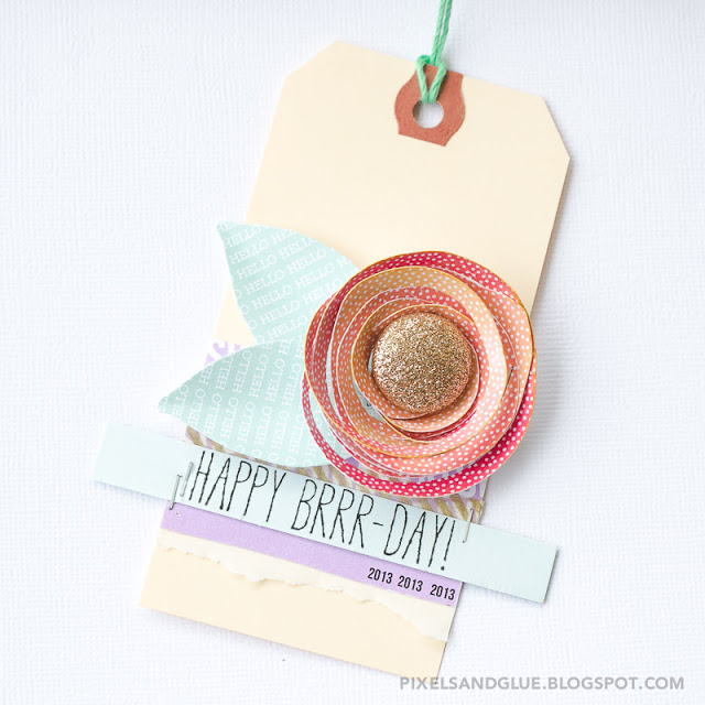 Birthday gift tag featuring a handmade double spiral flower by @pixnglue