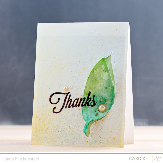 Studio Calico Double Scoop Watercolor Leaf Thanks card by @pixnglue