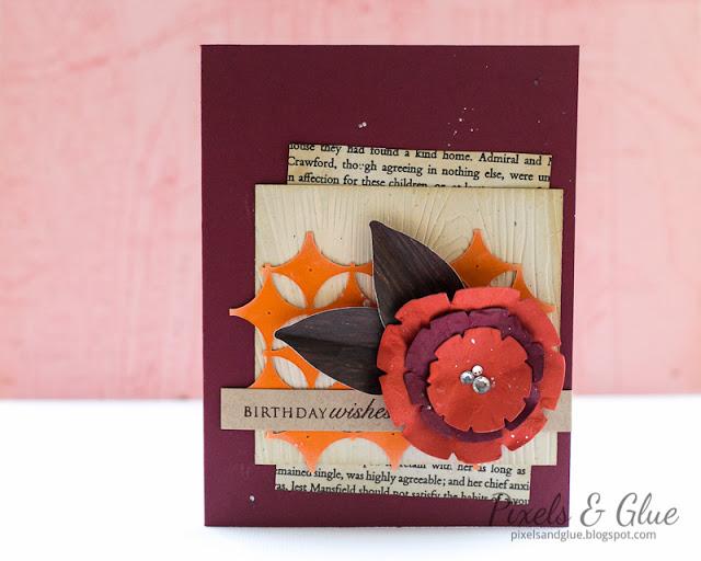 Handmade Autumn Birthday Card with Flower