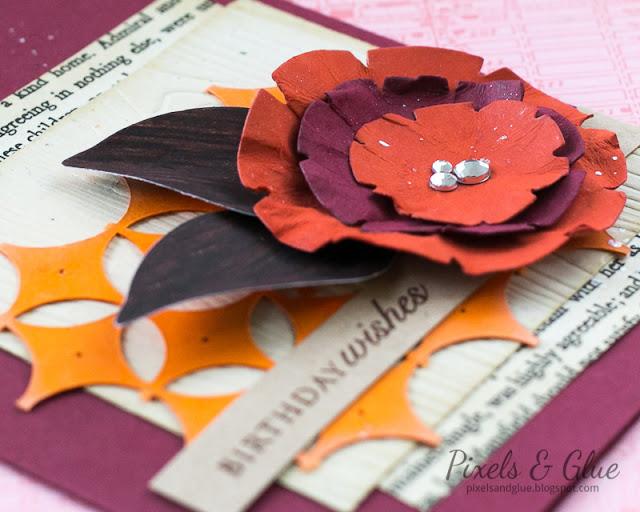 Handmade Autumn Birthday Card with Flower |Detail