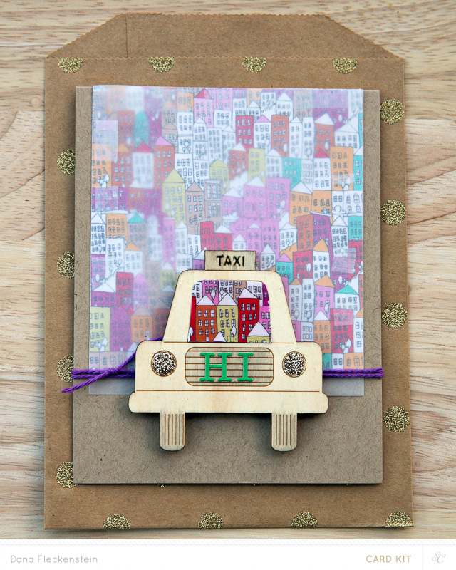 Hi Taxi card made with Studio Calico Park Ave. card kit by @pixnglue