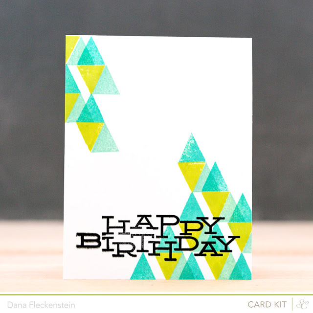 Handmade Birthday cards with stamped triangles card by pixnglue using Studio Calico's Roundabout kits