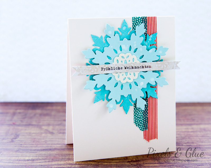 Handmade Christmas Card with a non-traditional color scheme as published in ScrapArtZine