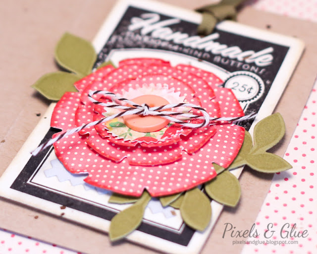 hand-stamped button card with die-cut paper flower - detail