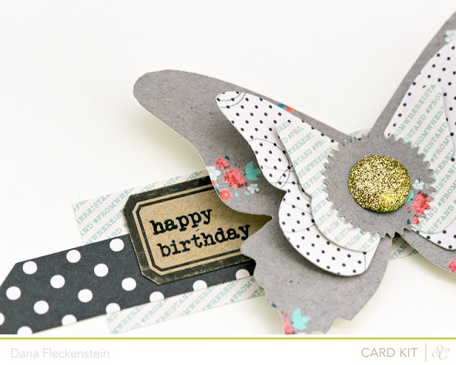 Studio Calico Antiquary Kit butterfly birthday card by @pixnglue
