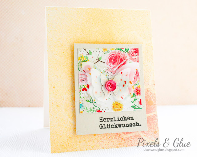 handmade birthday card with vellum butterfly and misted background