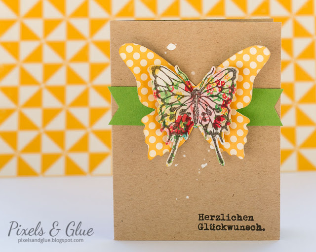 Bold Handmade Birthday Card with Colorful Big Butterfly