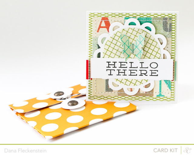 Handmade Hello There Snap Pocket card using the Studio Calico Block Party Kit by pixnglue