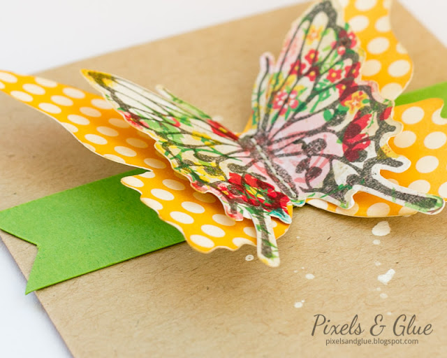 Bold Handmade Birthday Card with Colorful Big Butterfly - Detail