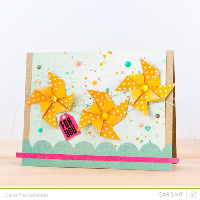 Pinwheel card by @pixnglue using Studio Calico's Marks & Co Kit