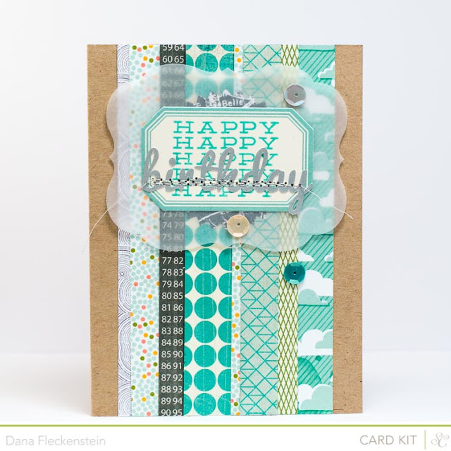 Turquoise Striped Birthday card using the Studio Calico Block Party Kit by pixnglue