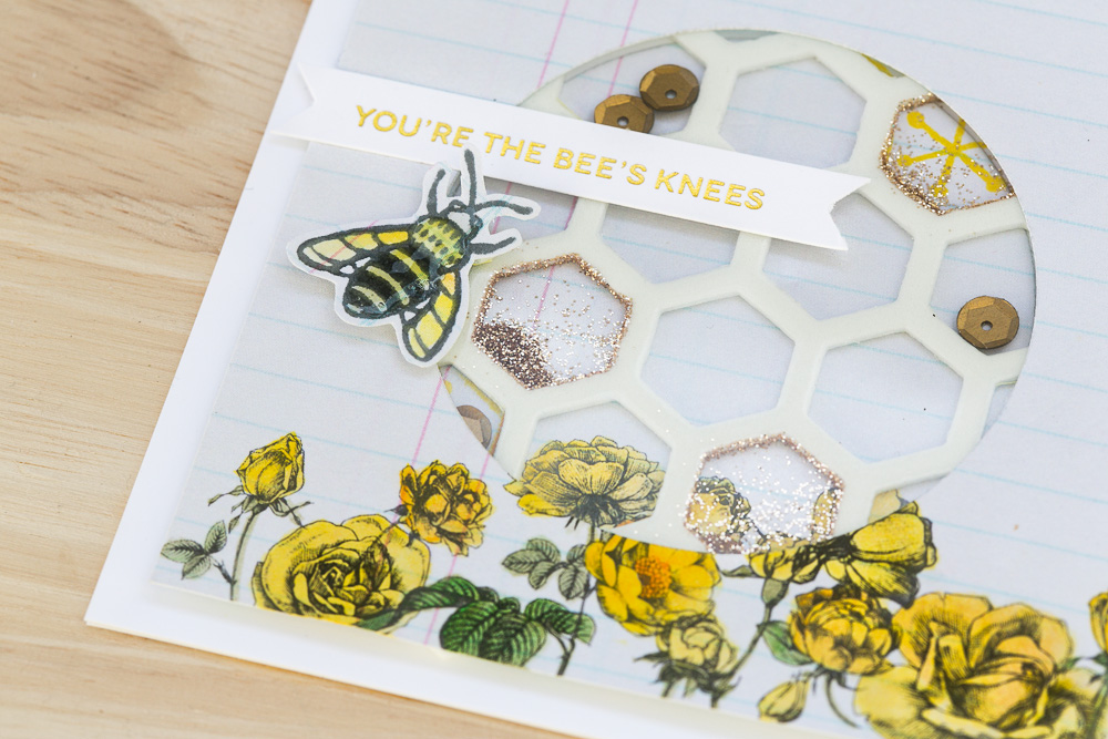 Bees Knees Shaker Card - Detail