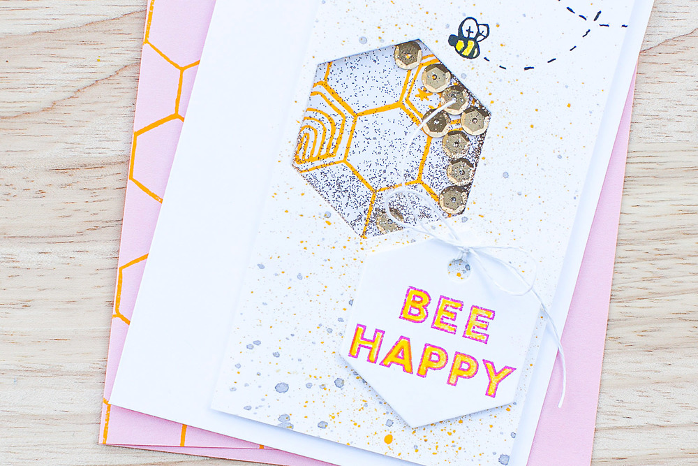 Bee Happy Shaker Card Detail - Step-by-Step Tutorial by @pixnglue