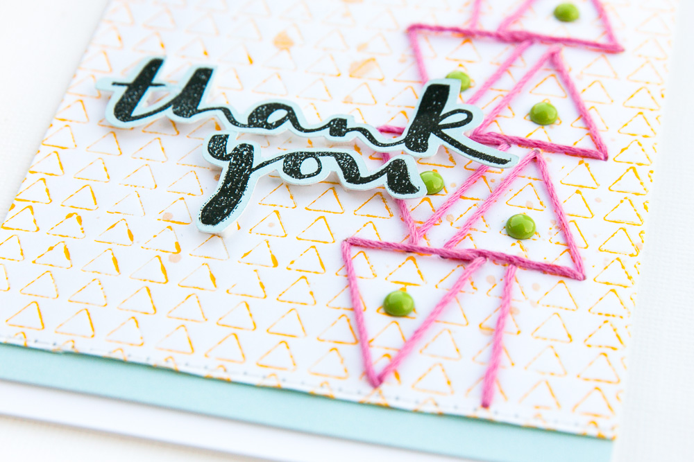 Thank you card with stitching detail by @pixnglue