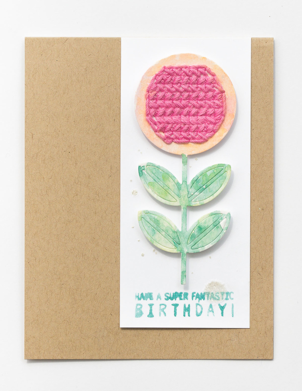 birthday card with stitched and watercolor flower