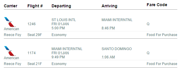 this is Reece's tkt: he arrives to Miami on the 1st ad flies down at 9:46 on a AA flight