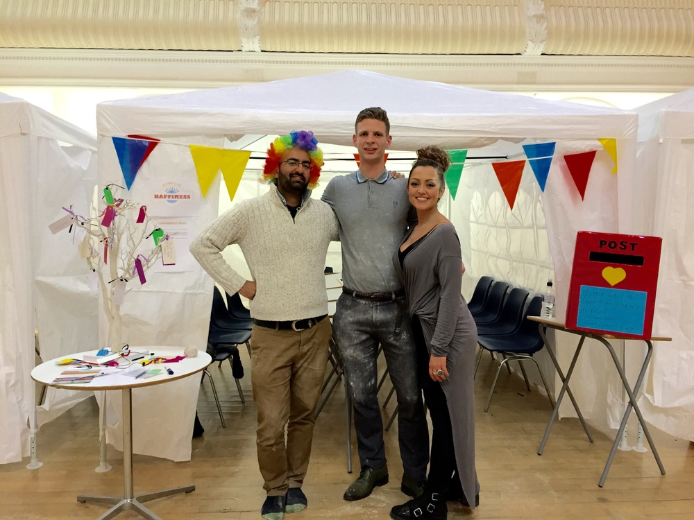 Three of the organisers.. From left to right: Shamash, Kieran and Laura. Main organiser, Vicky, too busy teaching a happiness class to join us in this pic!