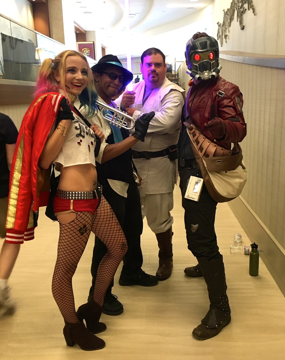 Some pretty cool cosplayers I snapped a pic of in the lobby of the hotel nearby. Gotta love that Star-Lord costume!