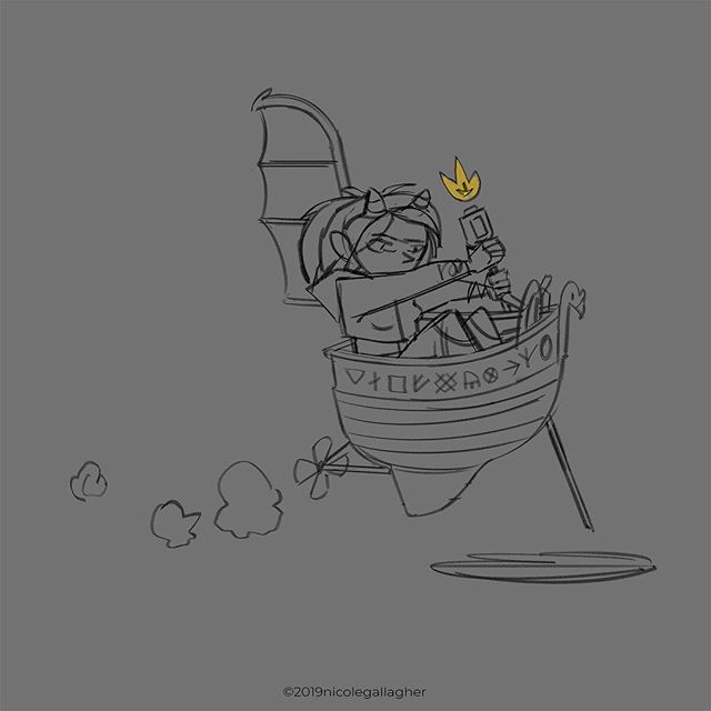 "And there she is in her tinny flying boat! I kinda want to give her a ""baba yaga"" feel... :) #dnd #dndart #dndcharacter #fantasy #fantasyart #ilovefantasyart #dungeonsanddragons #dungeons #d20 #characterdesign #conceptart #digitalart #artwork #photoshop #sketch #instageek #instaart  #artistsoninstagram"