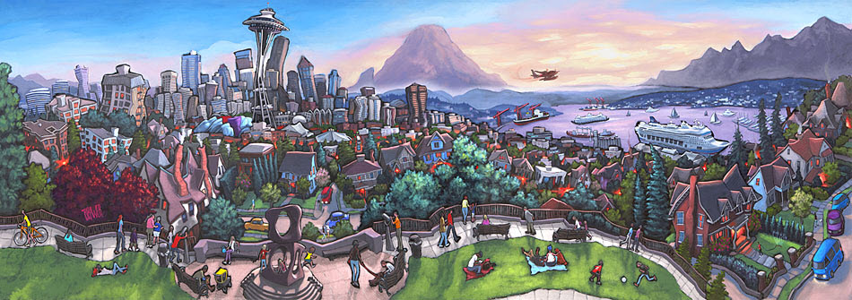 Kerry Park — Seattle<br>24x68  $1,000  Signed Limited Edition <br>18x52  $500<br>13x36  $200