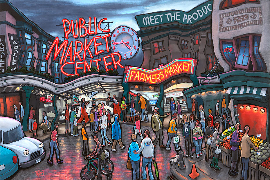 Pike Place Market — Seattle<br>34x50  $1,000  Signed Limited Edition <br>24x36  $500<br>16x24  $250