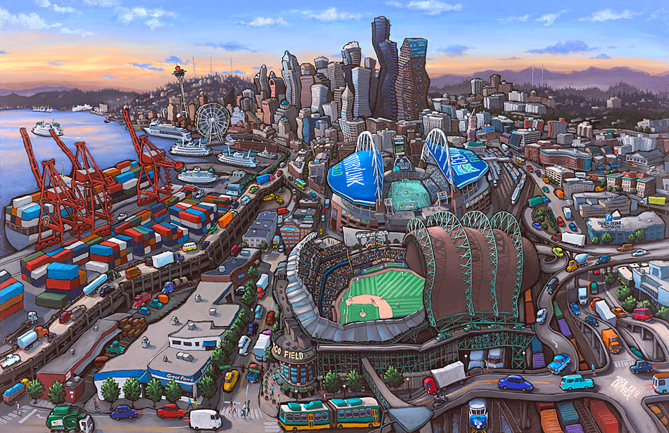 Seattle Stadiums<br>34x50  $1,000  Signed Limited Edition <br>24x36  $500<br>16x24  $250