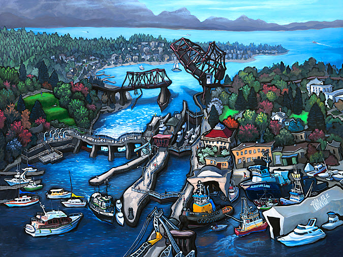 Ballard Locks — Seattle<br>36x48  $1,000  Signed Limited Edition <br>28x36  $500<br>18x24  $200