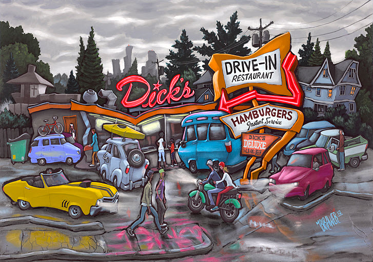 Dick's Drive-In — Seattle<br>34x48  $1,000  Signed Limited Edition <br>26x36  $500<br>17x24  $250