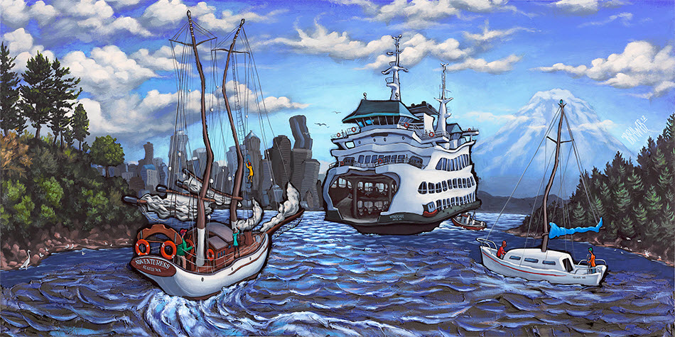 Bainbridge Island — Seattle<br>30x60  $1,000  Signed Limited Edition <br>22x44  $500<br>15x30  $250