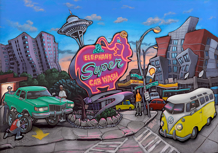 Elephant Car Wash — Seattle<br>34x48  $1,000  Signed Limited Edition <br>26x36  $500<br>17x24  $250