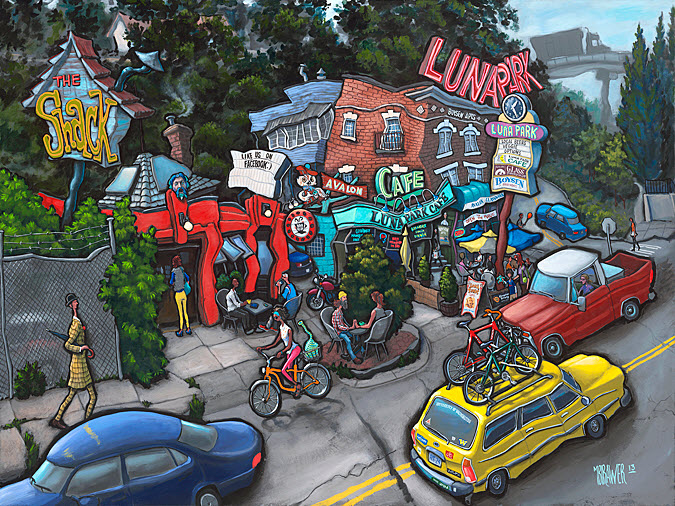 Luna Park — Seattle<br>36x48  $1,000  Signed Limited Edition <br>28x36  $500<br>18x24  $200