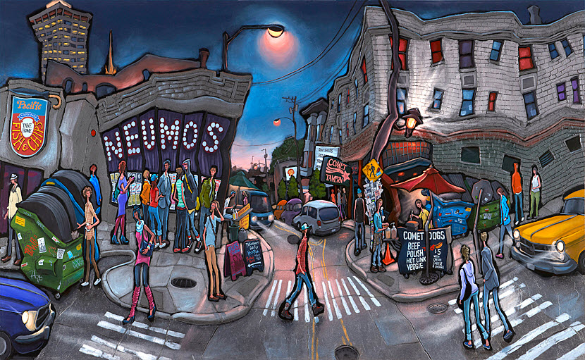 Neumos & Comet — Seattle<br>32x54  $1,000  Signed Limited Edition <br>24x38  $500<br>15x26  $200