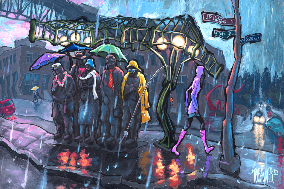Waiting For The Interurban—Seattle<br>30x60<br>24x36 $500<br>16x24 $250