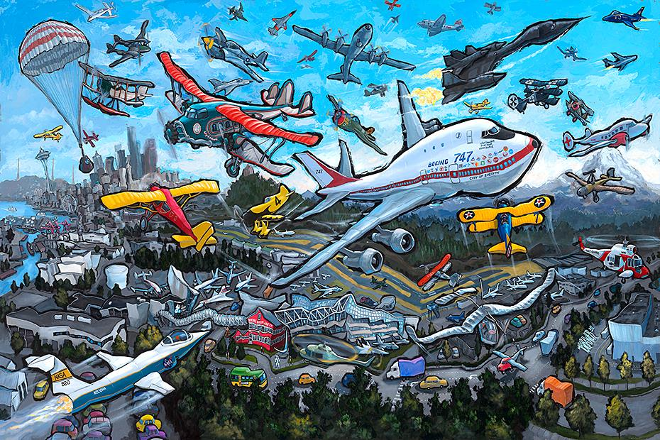 Museum of Flight — Seattle<br>34x50  $1,000  Signed Limited Edition <br>24x36  $500<br>16x24  $200