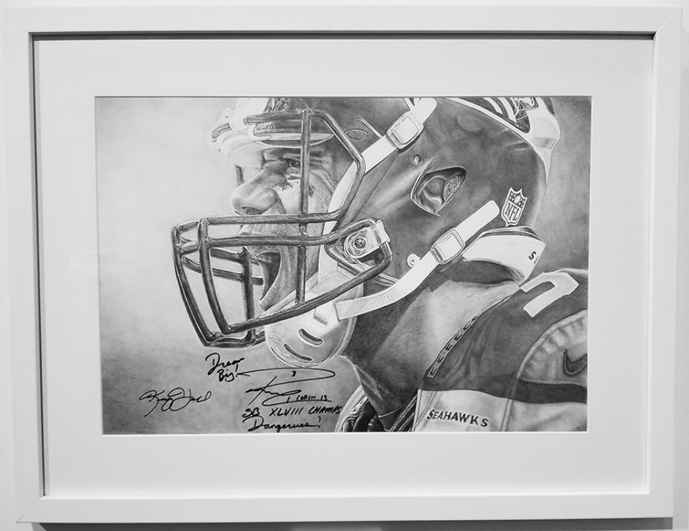 """Russell Wilson - Dangerruss#Graphite on Paper#14 x 24 inches#Signed by Russell#$3,000"