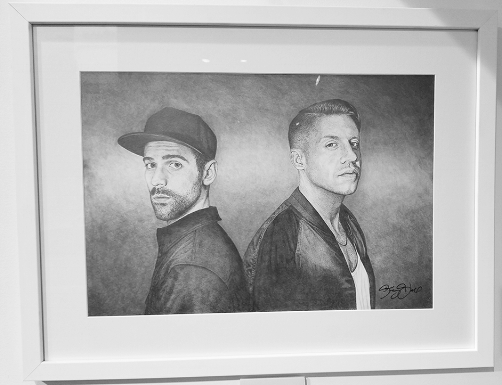 """Macklemore & Ryan Lewis""#Graphite on Paper#14 x 24 inches#$2,500"
