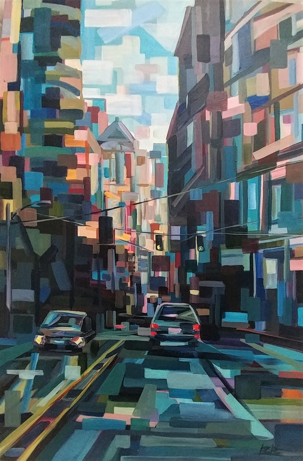 Down 1st Avenue#Acrylic on canvas#24 x 36 inches#$1,850